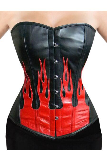 Kunstleder Vollbrustkorsett  Rot Flammen Gothic F8895