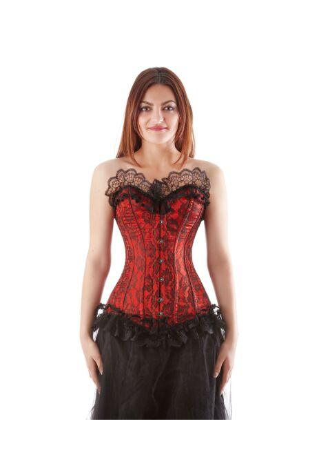 Vollbrust Korsett Rot Satin Corsage Netz Burlesque F11217