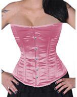 Halbbrust-Corsage-Pink-Rosa-Satin-Schnürkorsett-H8808-small